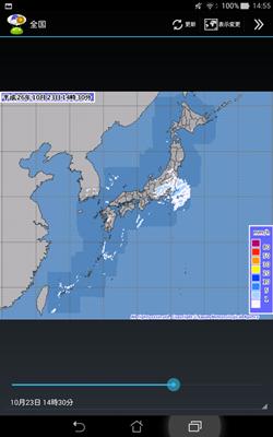 「解析雨量・降水短時間予報」の表示例